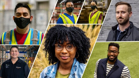 A collage featuring Amazon employees in both corporate and fulfillment center roles. Each individual portrait shows the employees either on their own in an outdoor space or inside their fulfillment center with a safety vest and mask on.