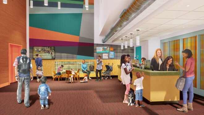 Rendering of the new Mary's Place Family Center in the Regrade, on Amazon's Seattle campus.