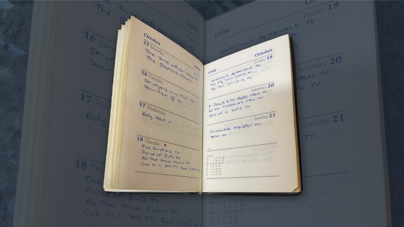 Col Needham's journal, tracking his movie viewing and notes