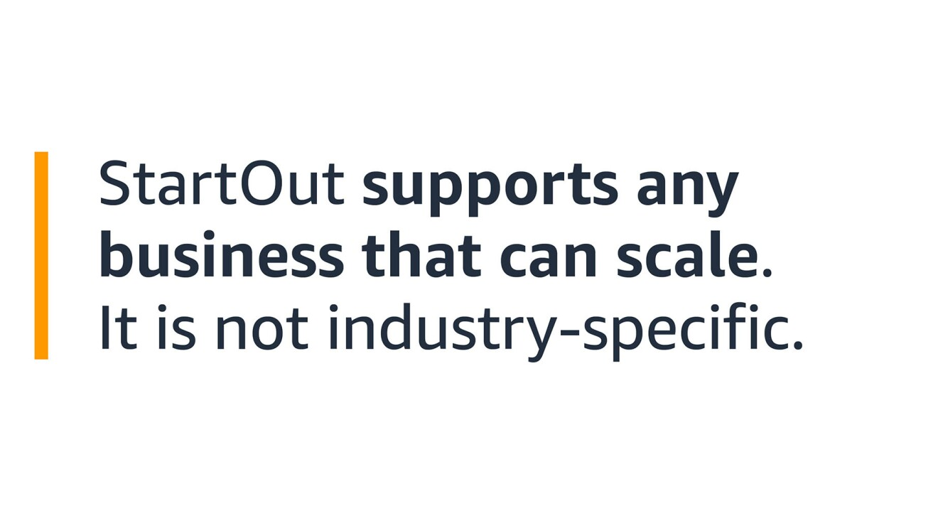 """A text graphic that says: """"StartOut supports any business that can scale. It is not industry-specific."""""""