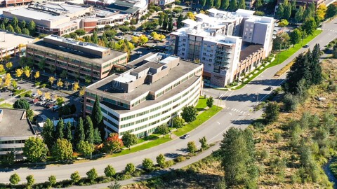 An aerial image of the campus location in Redmond, Washington.