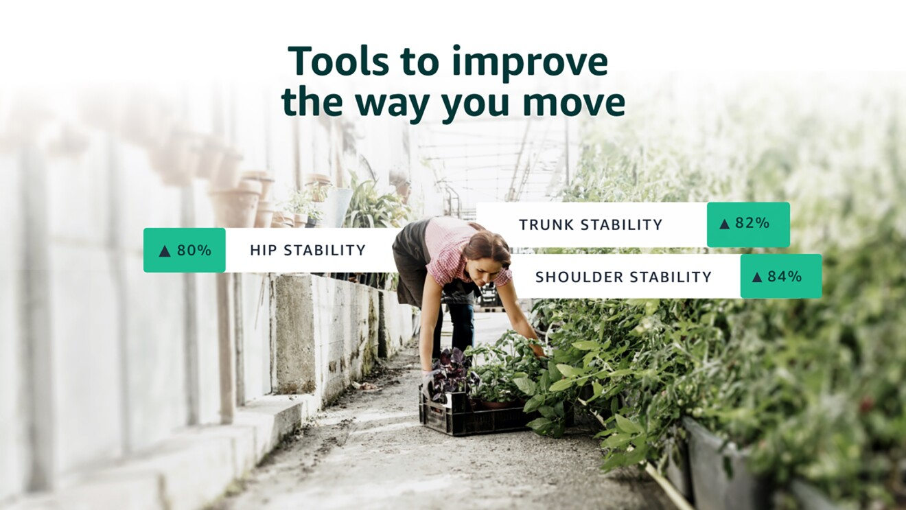 """A visual of a woman bending to pick of a flat of plants in a greenhouse. Above her it says """"Tools to improve the way you move"""" and +80% Hip Stability, +82% Trunk Stability, +84% Shoulder Stability - to show how the Halo app can support proper movement."""