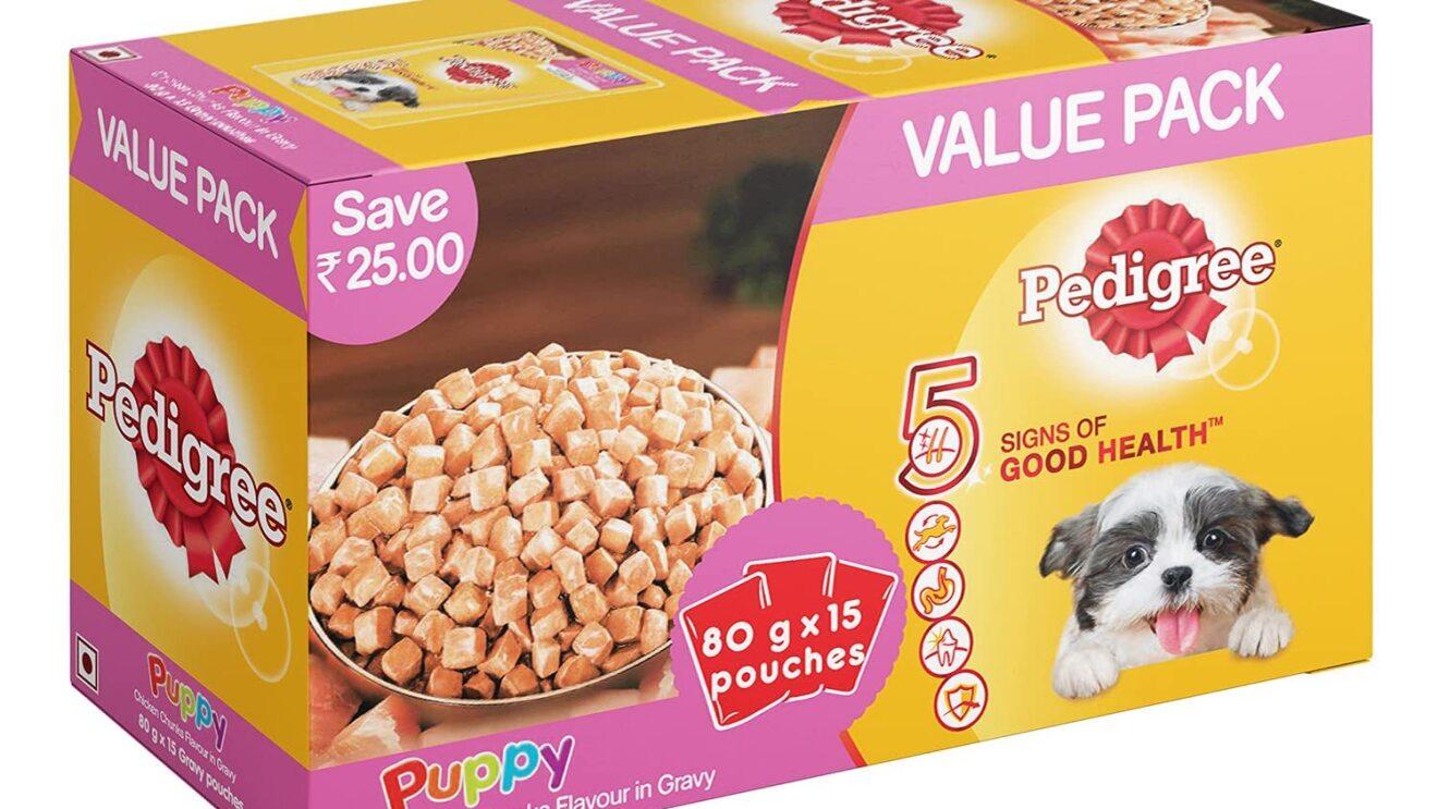 Pedigree Puppy Wet Dog Food, Chicken Chunks in Gravy, 70 g (Pack of 15) image