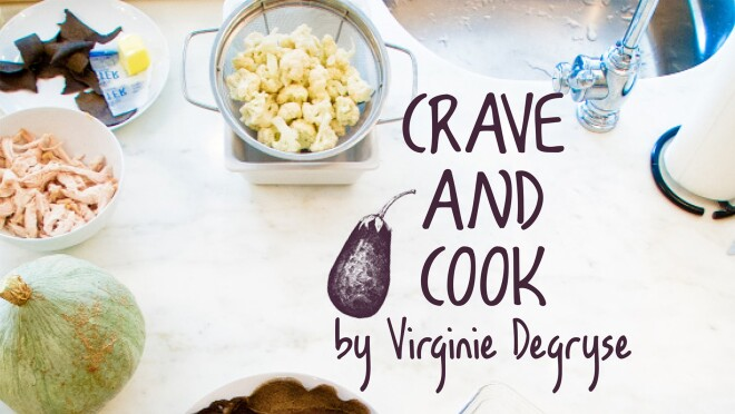 An image of the cover of the Crave and Cook holiday cookbook by Virginie Degryse.