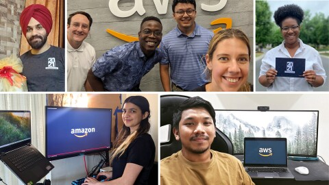 An image collage featuring photos of Amazon interns.