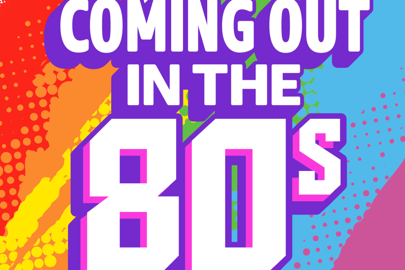 Logo of the London Pride playlist 'Coming out in the 80s'