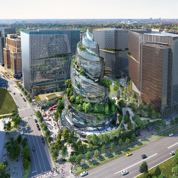 An aerial view rendering of The Helix on Amazon's PenPlace campus in Arlington, Virginia.