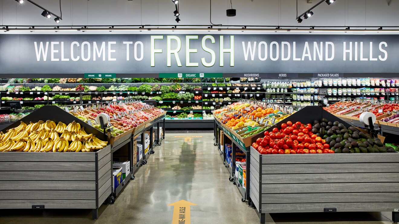 A photograph from inside the first Amazon Fresh store, located in Woodland Hills