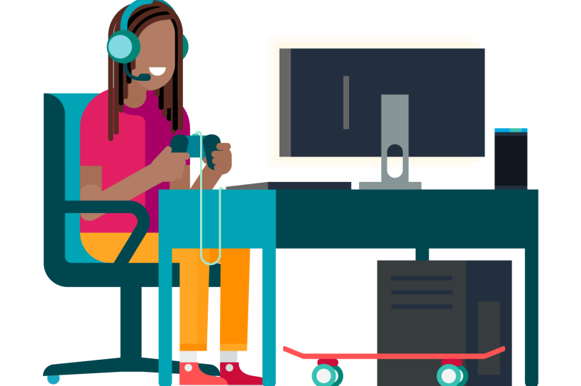 An illustration of a man with dreads, wearing a gaming headset and holding a game controller sits in front of a computer.