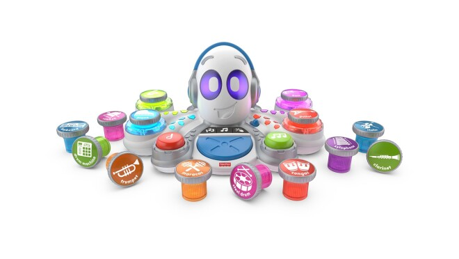 Rocking octopus toy with 15 musical instruments, 5 musical styles, and 3 play modes: math, music, and game