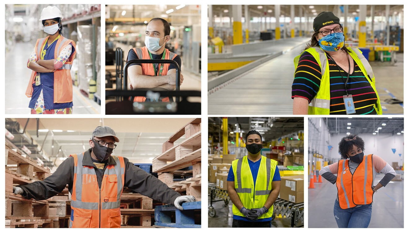 A grid of 6 Amazon employees, both men and women, all wearing a safety vest and face mask.