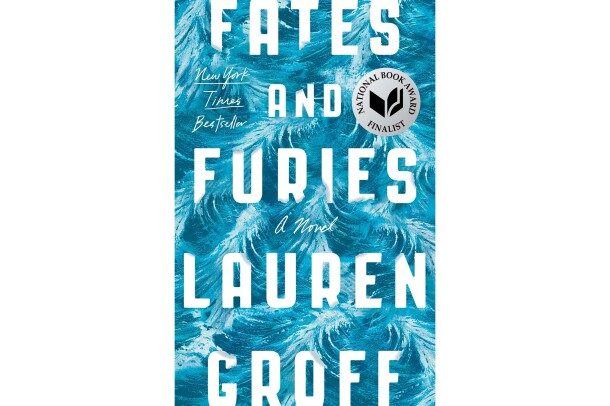 Book cover for Fates and Furies by Lauren Groff, the font is all-caps and white, set in front of a handpainted background that looks like waves in an ocean.