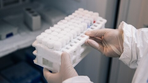 COVID-19 test samples being processed at an Amazon lab in Kentucky.