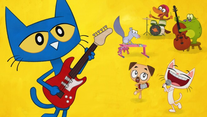 A cartoon cat playing a guitar, with other animals in the background.