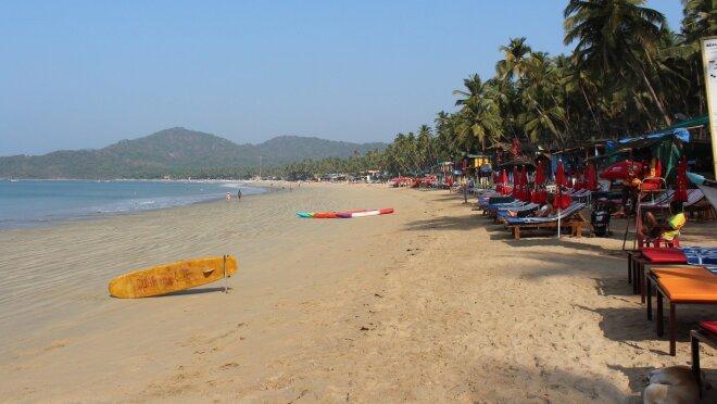 Goa Beach with a skateboard lying unattended
