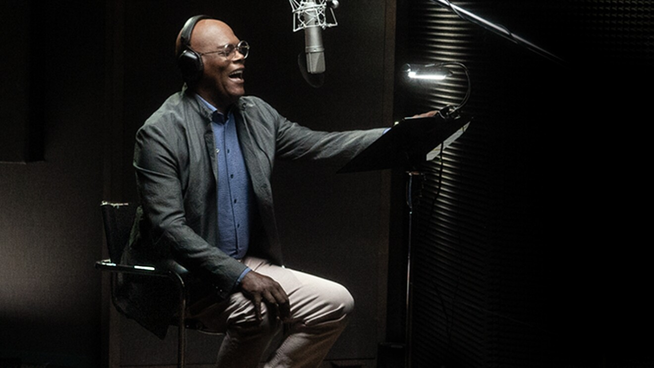 A photo of Samuel L. Jackson in a recording studio.
