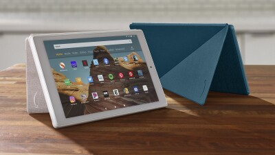 A tablet device on a tabletop.