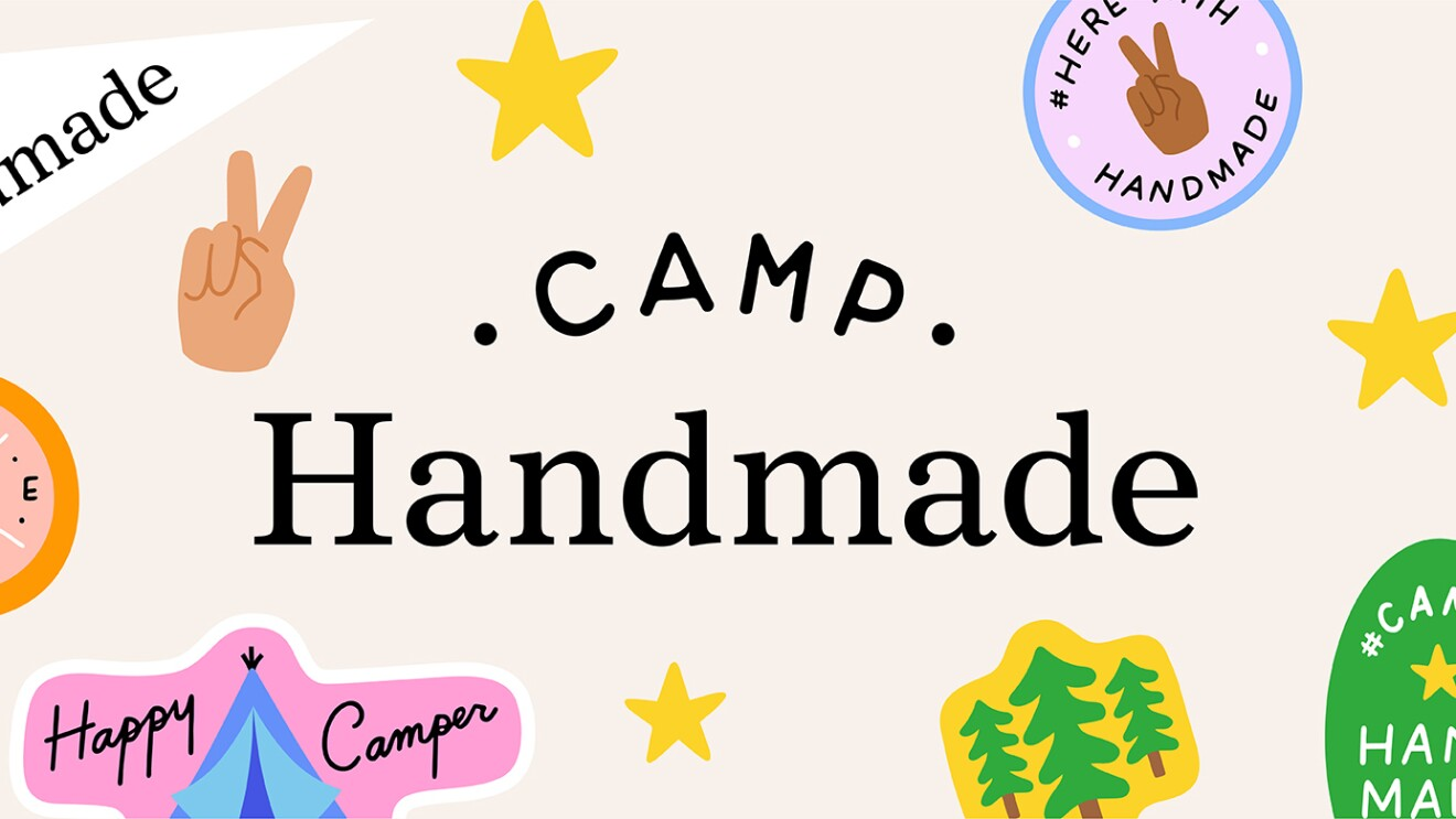 "A logo for ""Camp Handmade"" which shows illustrations of camp badges featuring icons of trees, a tent, compass, etc."