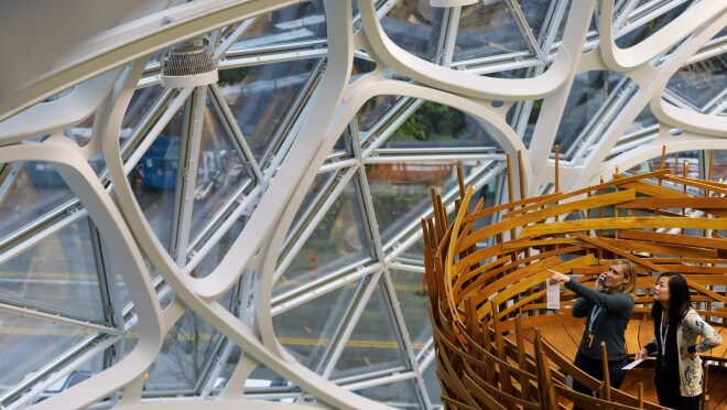 Two women stand in The Nest within the Amazon Spheres on opening day.