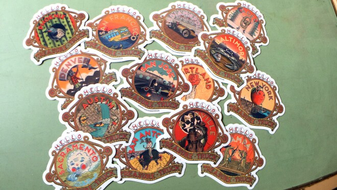 Stickers representing many of the U.S. Treasure Truck designs by Martz