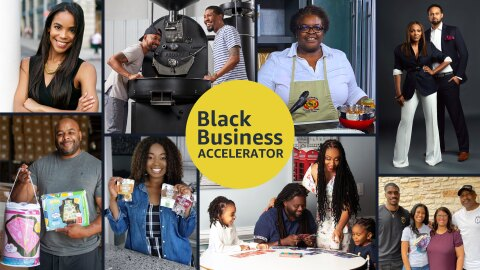 A collage of sellers that are part of the Black Business Accelerator program hold up their products and smile for the picture.