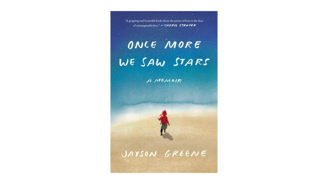 """Book cover of """"Once more we saw stars"""" - a memoir by Jayson Green. The title and author name are scrawled in white, all caps, handwritten font. The background shows a stylized image that ppears to be a child running on a surface that may be the beach, toward what appears to be a body of water that bleeds into a darker blue like the night sky, speckled with stars."""