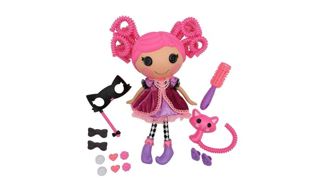 An image of a plush doll with pink hair and a purple dress and boots. There are accessories around the doll like a hair brush, and masquerade mask, bows, and a pink cat.