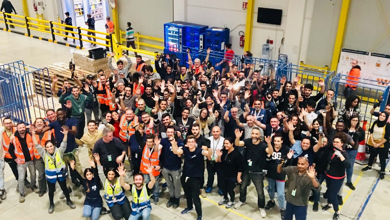 Amazon associates at the logistics center in Northern Italy get ready for Peak.