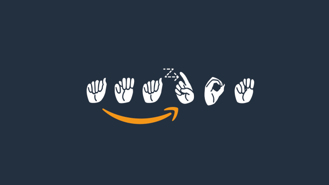 Amazon logo in American Sign Language