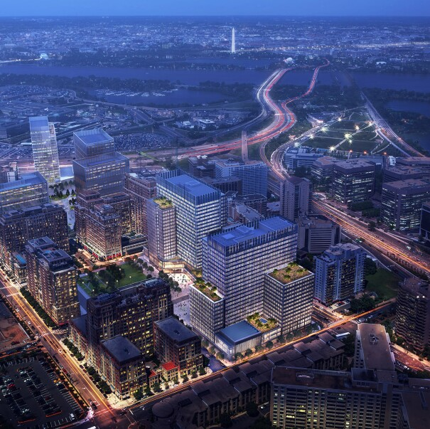 Rendering of Amazon's Arlington campus from above, at night.