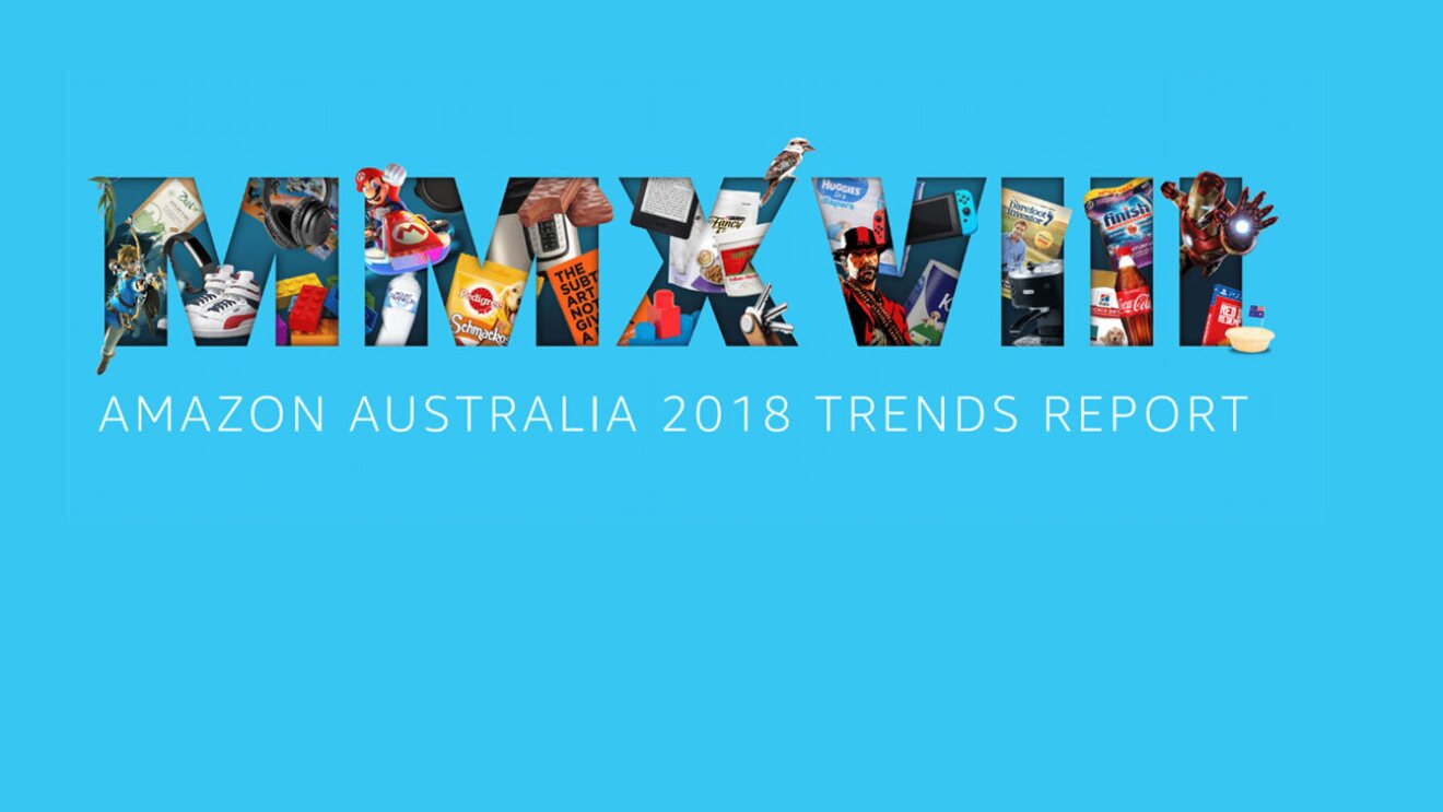 """A graphic featuring the roman numerals M M X V I I I with various items featured in the 2018 trends report bursting through the figures and the legend beneath reading """"Amazon Australia 2018 Trends Report"""""""