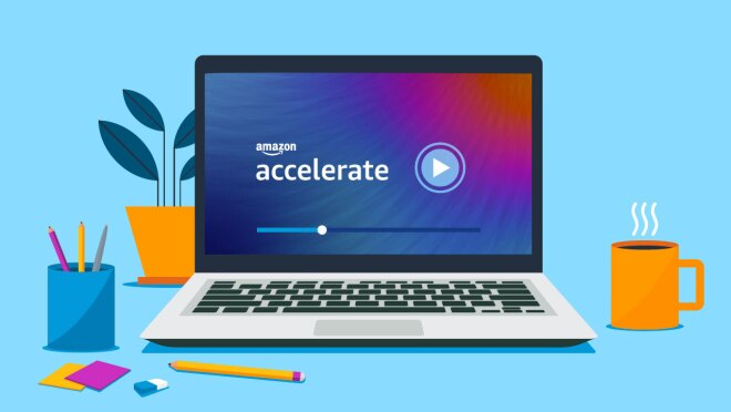"""An illustration of a laptop computer next to coffee, pencils, and other desktop items, with """"Amazon Accelerate"""" on the screen."""