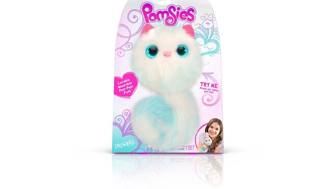 A stuffed animal in white, aqua, and pink, called Pomsies Pom Pom Pet, that will tell you when they feel tired, cold, or hungry with light-up eyes, purring, and cute sounds.