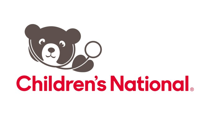 An image of the logo for Children's National. The name is in red letters and there is a brown teddy bear wearing a doctor's stethoscope.