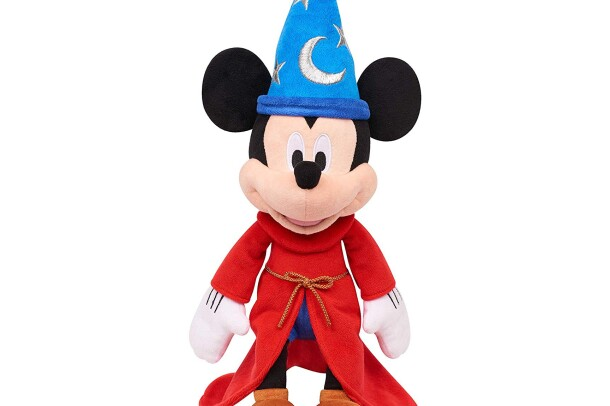 A plush Mickey Mouse toy, dressed like the Mikey Mouse wizard character from the movie, Fantasia.