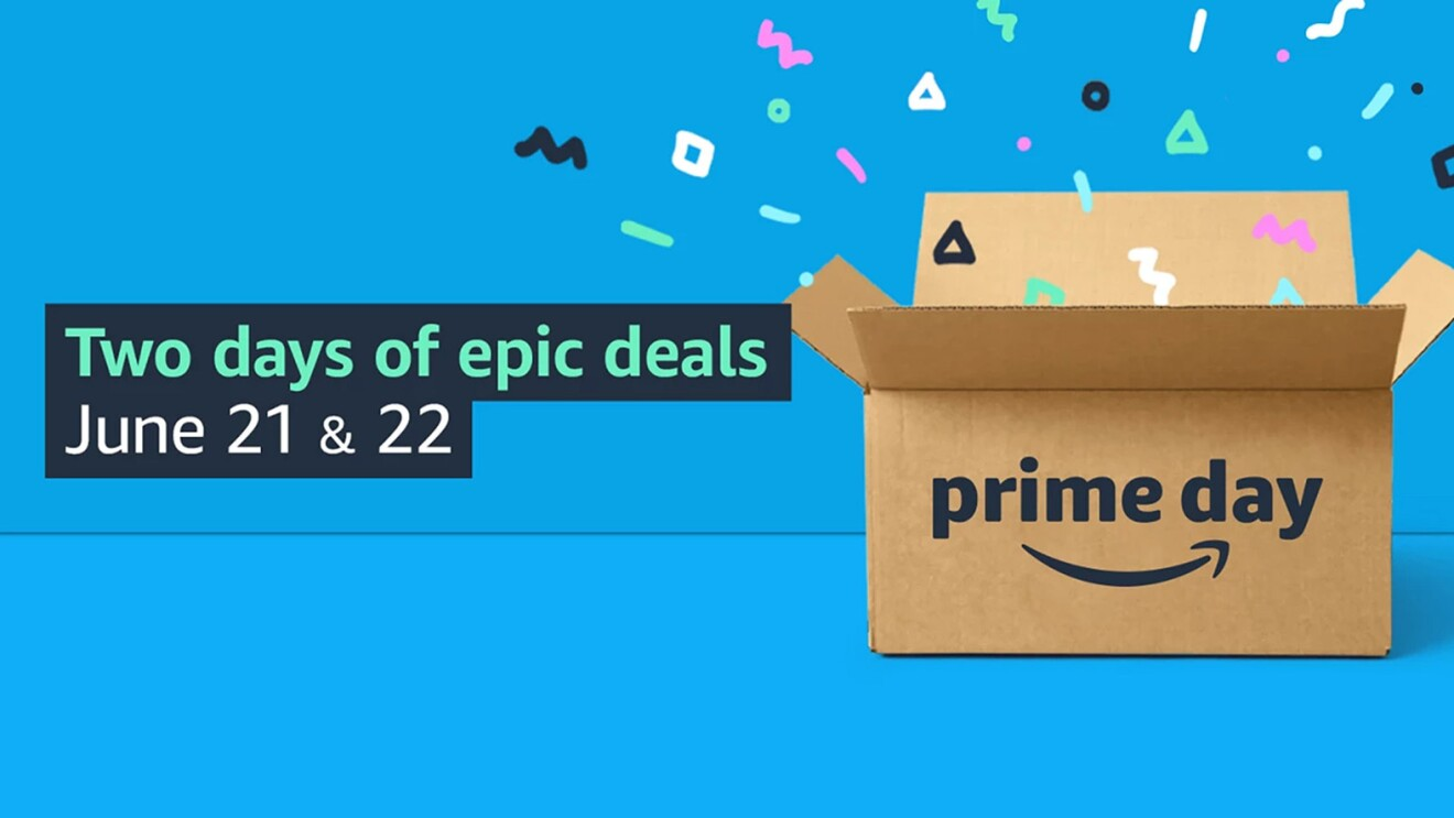 Prime Day 2021 banner with a brown box, against a blue background