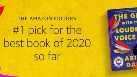 "The book, ""The Girl With the Louding Voice"" by Abi Dare, on a yellow background. Text reads ""Amazon Editors' #1 pick for best book of 2020 so far"""