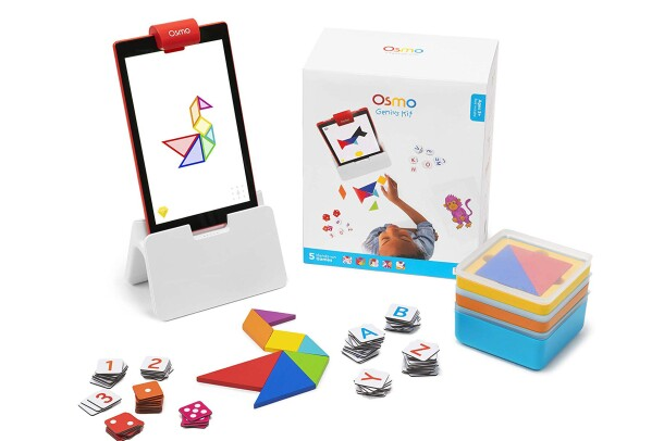 Osmo Genius Kit on white background. Kit includes Osmo Base for Fire Tablets, game pieces, and stackable storage containers.